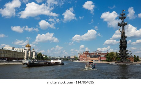 MOSCOW, RUSSIA - June 19, 2018: Bypass canal of the Moscow river and naval monument to the Russian czar Peter the Great