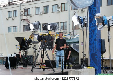 MOSCOW, RUSSIA - June 19, 2018: Preparing to broadcast for shooting a concert on television on a city street