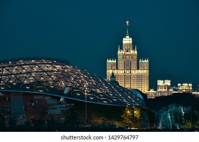 Moscow, Russia- June 19 2019: night view from Zaryadye Park. Stalinist high-rise building at Kotelnicheskaya embankment.