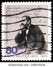 MOSCOW, RUSSIA - JUNE 19, 2019: Postage stamp printed in Germany, Federal Republic, shows Fritz Reuter (1810-1874), German novelist, 175th Death Anniversary of Fritz Reuter serie, circa 1985