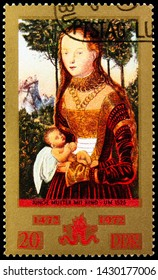 """MOSCOW, RUSSIA - JUNE 19, 2019: Postage stamp printed in Germany, Democratic Republic, devoted to 500th Anniversary Of The Painter Lucas Cranach, """"Junge Mutter"""", serie, circa 1972"""