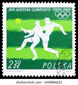 MOSCOW, RUSSIA - JUNE 19, 2019: Postage stamp printed in Poland shows Soccer (square), Olympic Games 1964 - Tokio serie, circa 1964