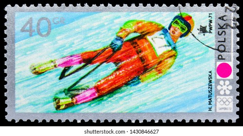 MOSCOW, RUSSIA - JUNE 19, 2019: Postage stamp printed in Poland shows Luge, Olympic Games 1972 - Sapporo serie, circa 1972