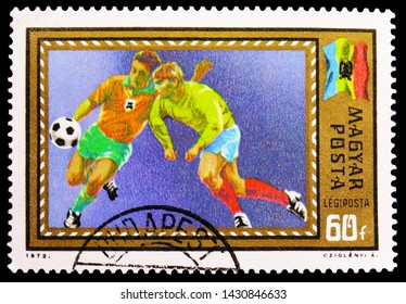 MOSCOW, RUSSIA - JUNE 19, 2019: Postage stamp printed in Hungary shows 1972 UEFA Football European Chamionship, Belgium, serie, circa 1972
