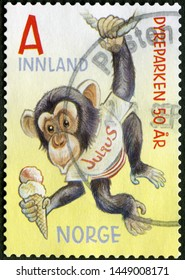 MOSCOW, RUSSIA - JUNE 19, 2019: A stamp printed in Norway shows monkey, The 50th Anniversary of Kristiansand Zoo and Amusement Park Dyrepark, 2016