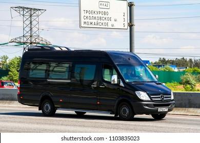 Moscow, Russia - June 2, 2012: Passenger van Mercedes-Benz Sprinter at the interurban road.
