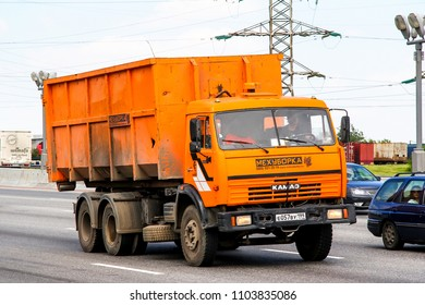 Moscow, Russia - June 2, 2012: Multilift truck Kamaz 53228 at the interurban road.
