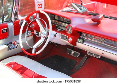 MOSCOW, RUSSIA - JUNE 2, 2013: Interior of american motor car Cadillac Eldorado taken part at the annual L.U.C. Chopard Classic Weekend Rally.