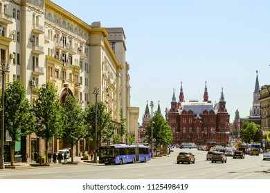 Moscow, Russia - June 2, 2018: Tverskaya Street in the city center and historical museum near Kremlin. Cityscape with a roadway.