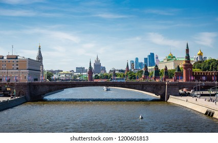 MOSCOW, RUSSIA - June 2, 2018: Panoramic view of the Kremlin and Moscow River