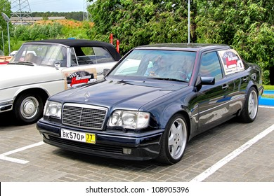 MOSCOW, RUSSIA - JUNE 2: German sportscar Mercedes-Benz W124 E-class competes at the annual Panauto Travel Rally on June 2, 2012 in Moscow, Russia.