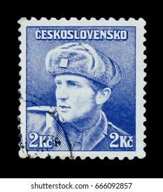 MOSCOW, RUSSIA - JUNE 20, 2017: A stamp printed in Czechoslovakia shows Captain Otakar Jaros (Russian Army), circa 1945