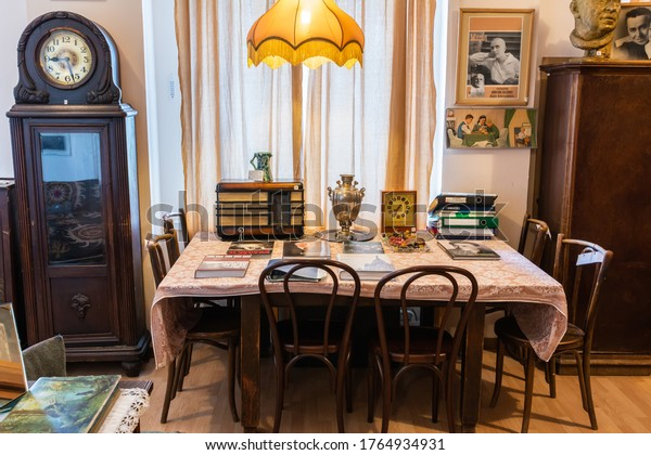 Moscow, Russia – June 20, 2017. Interior view of House on the Embankment (Dom na Naberezhnoy) museum in Moscow, with period furniture.