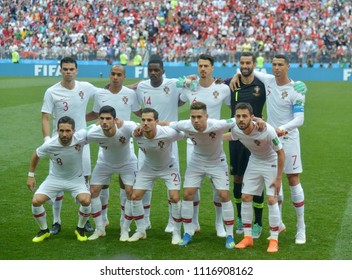 MOSCOW, RUSSIA - June 20, 2018: Portugal team posing for a photo during the FIFA 2018 World Cup. Portugal is facing Morocco in the Group B at Luzhniki Stadium.