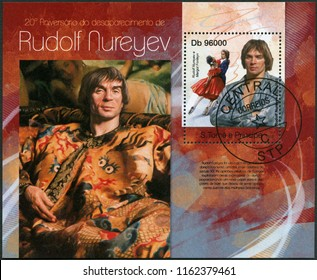 MOSCOW, RUSSIA - JUNE 20, 2018: A stamp printed in St.Thomas and Prince Islands shows Rudolf Khametovich Nureyev (1938-1993), 2013
