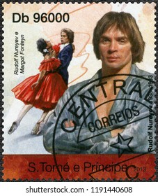 MOSCOW, RUSSIA - JUNE 20, 2018: A stamp printed in St.Thomas and Prince Islands shows Rudolf Khametovich Nureyev (1938-1993) and Dame Margot Fonteyn (1919-1991), 2013