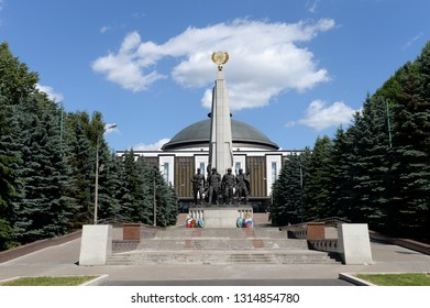 MOSCOW, RUSSIA - JUNE 20, 2018: Monument to the participating countries of the anti-Hitler coalition in Victory Park on Poklonnaya Hill in Moscow