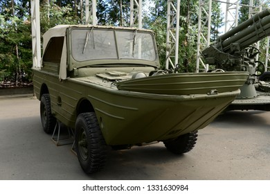"""MOSCOW, RUSSIA - JUNE 20, 2018: Floating amphibious vehicle """"Ford-GPA"""" in the Museum of military equipment on Poklonnaya hill in Moscow"""