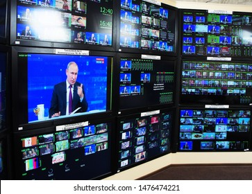 MOSCOW, RUSSIA - JUNE 20, 2019: The President of the Russian Federation Vladimir Vladimirovich Putin at the annual talk / press conferen with Russian people as seen in live broadcast on many screens.