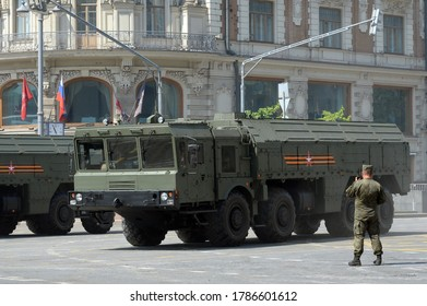MOSCOW, RUSSIA - JUNE 20, 2020:The 9K720 Iskander-M operational-tactical missile system on a Moscow street during the dress rehearsal of the parade dedicated to the 75th anniversary of Victory