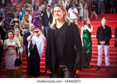 MOSCOW, RUSSIA - JUNE 20: Brad Pitt on the red carpet of russian premiere of World War Z on June 20, 2013, Moscow, Russia
