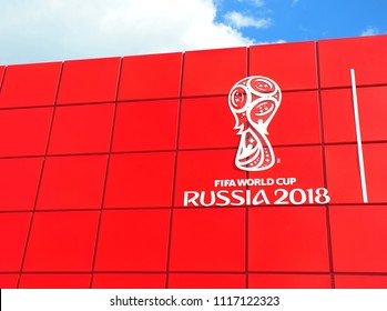 MOSCOW, RUSSIA - JUNE 20: Logo of FIFA World Cup Russia 2018, Moscow on June 20, 2018.