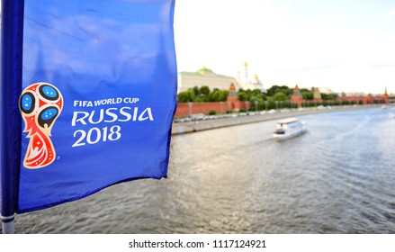 MOSCOW, RUSSIA - JUNE 20: Logo of FIFA World Cup Russia 2018 and Kremlin ensemble, Moscow on June 20, 2018.