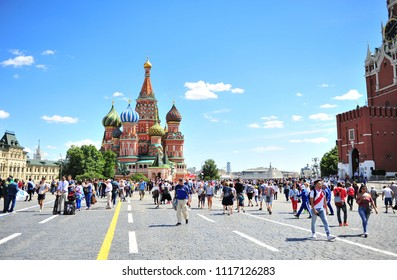 MOSCOW, RUSSIA - JUNE 20: Undefined people on the Red Square, Moscow during FIFA World Cup 2018 on June 20, 2018.