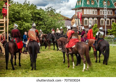 Moscow, Russia - June, 2017: History reenactment in Kolomenskoe in Moscow, Russia. Mongol rule invasion, Battle of the Kalka River reconstruction.