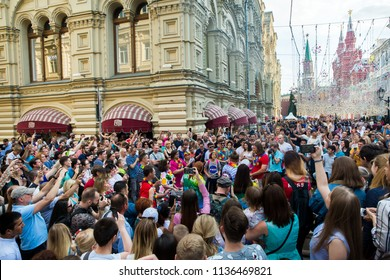 Moscow, Russia - June, 2018: Crowd of people on Nikolskaya street on world cup championship in Moscow, Russia