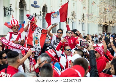 Moscow, Russia - June, 2018: Peru football fans on world cup championship in Moscow, Russia