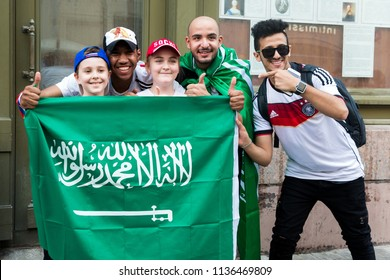 Moscow, Russia - June, 2018: Saudi Arabia football fans on world cup championship in Moscow, Russia