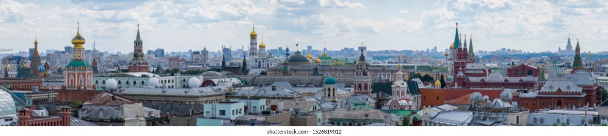 Moscow / Russia - June 2019: Aerial view from observation deck in Central Children's World on historical center of Moscow. Summer in Russia.