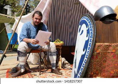 Moscow, Russia - June 2019: Man in Byzantine clothes during the Moscow historical festival Times and epochs. Reconstruction of life in the Byzantine Empire