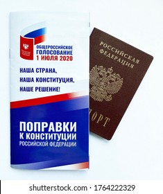 Moscow, Russia / June, 2020: 2020 amendments to the Constitution of Russia. Russian passport and booklet on amendments to the Constitution of the Russian Federation