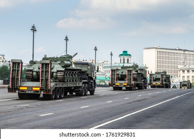 Moscow, Russia - June 2020. Victory Day parade on the Red Square. Tank T34 close-up on a city street. Celebration of the Victory Day.
