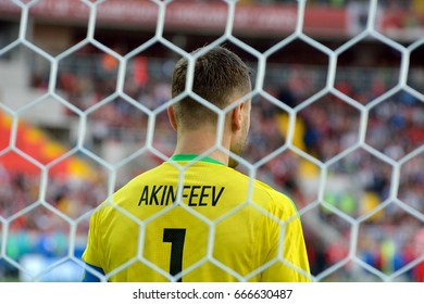 MOSCOW, RUSSIA - JUNE 21, 2017. Goalkeeper Igor Akinfeev in 100th match for Russian national team. FIFA Confederations Cup match Russia vs Portugal.