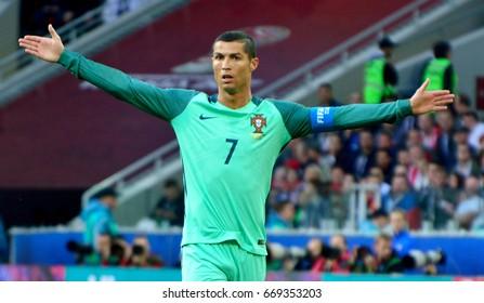 MOSCOW, RUSSIA - JUNE 21, 2017. Portuguese striker Cristiano Ronaldo during FIFA Confederations Cup match Russia vs Portugal.