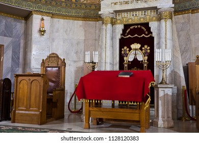Moscow / Russia - June 21, 2018: Moscow Choral Synagogue, in between the prayers are empty. colorful and solemn interior with bizarre patterns. In the sanctuary of the synagogue, the holy of holies