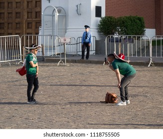 Moscow, Russia,  June 21, 2o18, FIFA World Cup: Mexican football fans making a picture in front of the Kremlin at the Red Square