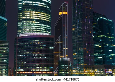 MOSCOW, RUSSIA - JUNE 22, 2016: close up view of business complex Moscow City at night