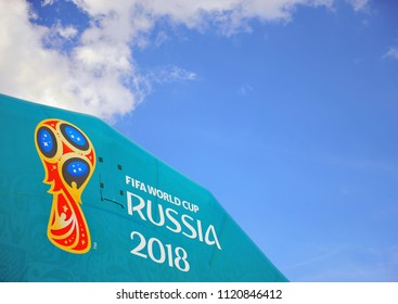 MOSCOW, RUSSIA - JUNE 22: Logo of FIFA World Cup Russia 2018, Moscow on June 22, 2018.