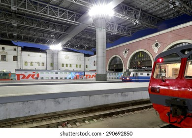 MOSCOW, RUSSIA - JUNE, 23 2015: Kazansky railway terminal ( Kazansky vokzal) -- is one of nine railway terminals in Moscow, Russia.