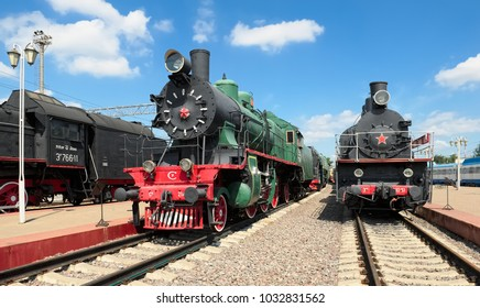 Moscow, Russia - June 23, 2016: Museum of Railway Transport of the Moscow railway, Soviet passenger locomotive series Sormovskiy Su 214-10, nickname - drying and Freight locomotive EM 740-57