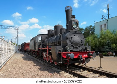 Moscow, Russia - June 23, 2016: Museum of Railway Transport of the Moscow railway, locomotive Ov 841, first steam locomotive, has become the main locomotive in the park of the Russian railways, 1903