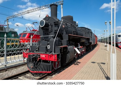 Moscow, Russia - June 23, 2016: Locomotive Ea-2450, was supplied in the Soviet Union from the United States, built in 1944 at a Baldwin plant in Philadelphia, Museum of Railway Transport