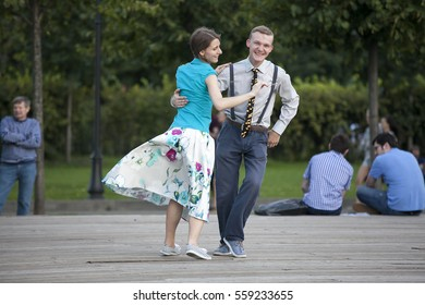 Moscow, RUSSIA - June 23, 2016:  Swing dancers in vintage clothing