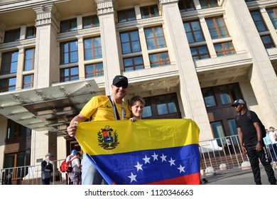 Moscow, Russia - June 23, 2018. World Cup 2018, Venezuelan football fans with national flag on the streets in Moscow. FIFA world cup, Mundial 2018