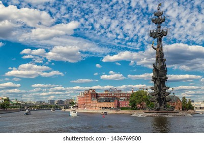 Moscow, Russia - June 24, 2019: Moscow river and Peter the Great Statue. The Peter the Great Statue is a monument, located at the western confluence of the Moskva River and the Vodootvodny Canal.