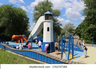"""MOSCOW, RUSSIA – JUNE 24, 2020: Wooden playground """"Sea adventures"""" (Monstrum) in Gorky Park, Moscow city, Russia. Children's active games at playground. Improvement of public spaces in Moscow city"""